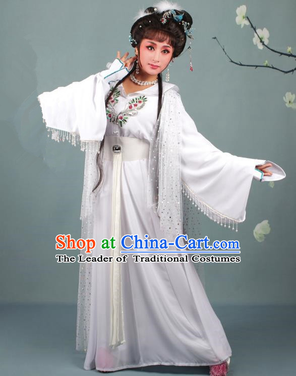 Top Grade Professional Beijing Opera Diva Costume Lady White Snake Dress, Traditional Ancient Chinese Peking Opera Hua Tan Princess Embroidery Clothing