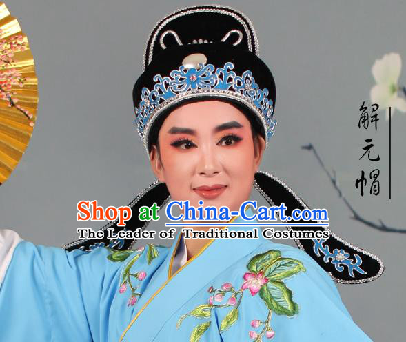 Top Grade Beijing Opera Niche Gifted Scholar Black Hat, Traditional Ancient Chinese Peking Opera Young Men Headwear
