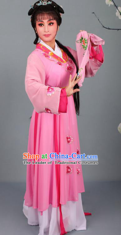 Top Grade Professional Beijing Opera Young Lady Diva Costume Handmaiden Pink Embroidered Dress, Traditional Ancient Chinese Peking Opera Maidservants Embroidery Clothing