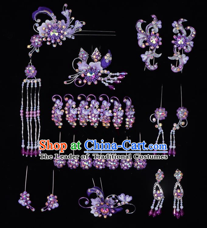 Top Grade Professional Beijing Opera Diva Hair Accessories Complete Set, Traditional Ancient Chinese Peking Opera Tassel Step Shake Hua Tan Hairpins Headwear