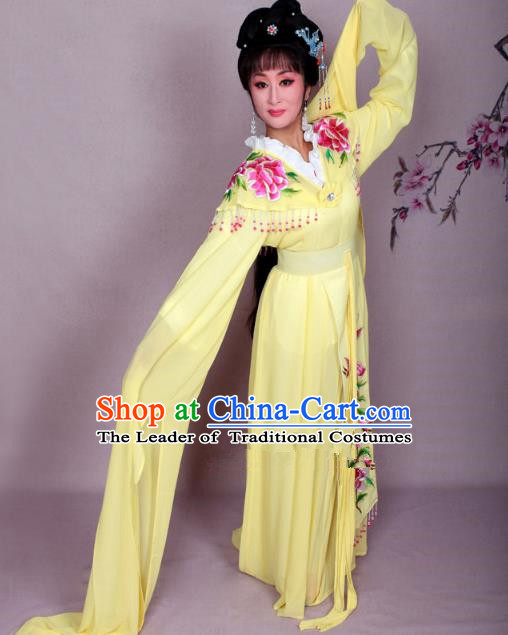 Top Grade Professional Beijing Opera Hua Tan Costume Palace Lady Yellow Embroidered Peony Dress, Traditional Ancient Chinese Peking Opera Diva Princess Embroidery Clothing