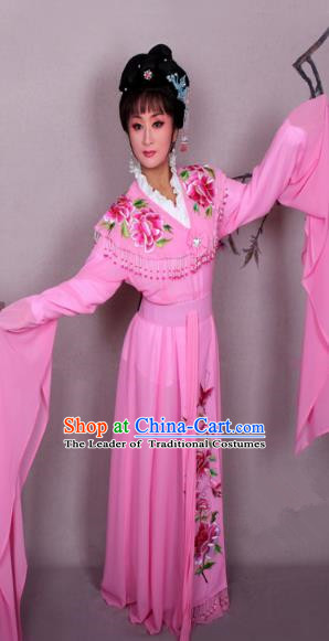 Top Grade Professional Beijing Opera Hua Tan Costume Palace Lady Pink Embroidered Peony Dress, Traditional Ancient Chinese Peking Opera Diva Princess Embroidery Clothing