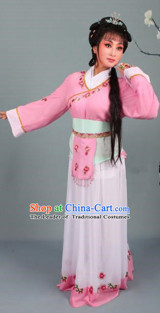 Top Grade Professional Beijing Opera Young Lady Costume Handmaiden Pink Embroidered Dress, Traditional Ancient Chinese Peking Opera Maidservants Embroidery Clothing