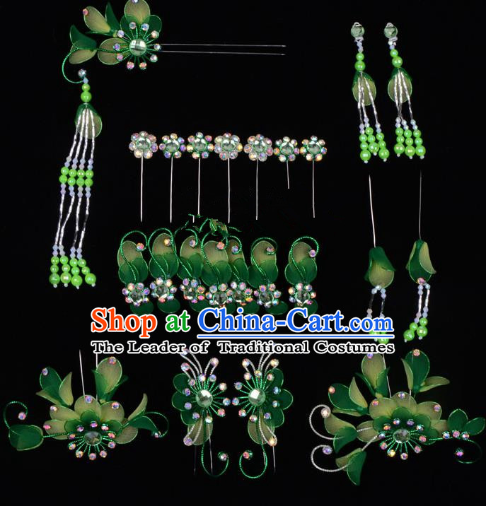Top Grade Professional Beijing Opera Diva Green Hair Accessories Complete Set, Traditional Ancient Chinese Peking Opera Tassel Step Shake Hua Tan Hairpins Headwear