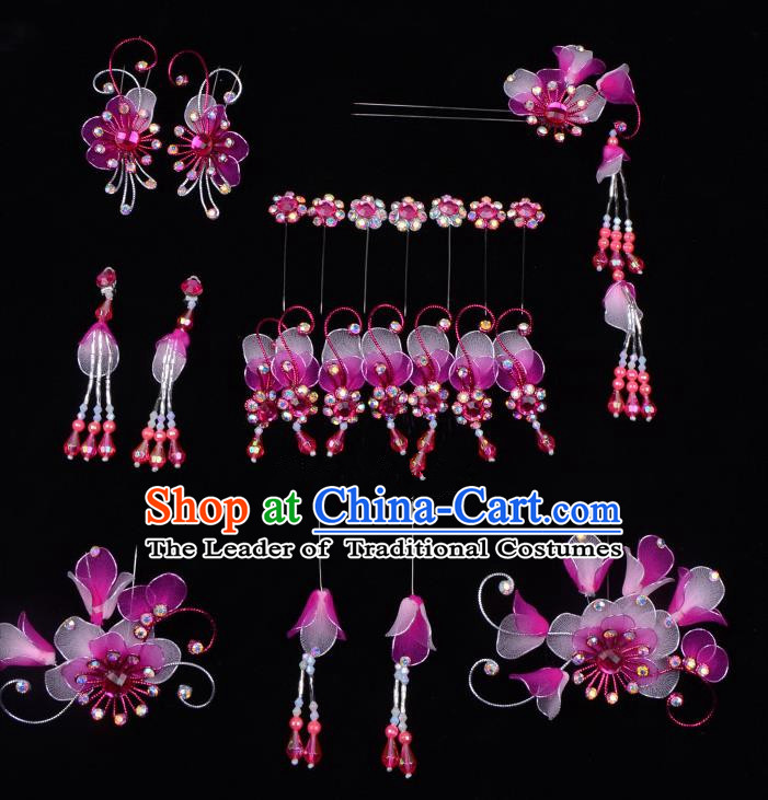 Top Grade Professional Beijing Opera Diva Purple Hair Accessories Complete Set, Traditional Ancient Chinese Peking Opera Tassel Step Shake Hua Tan Hairpins Headwear