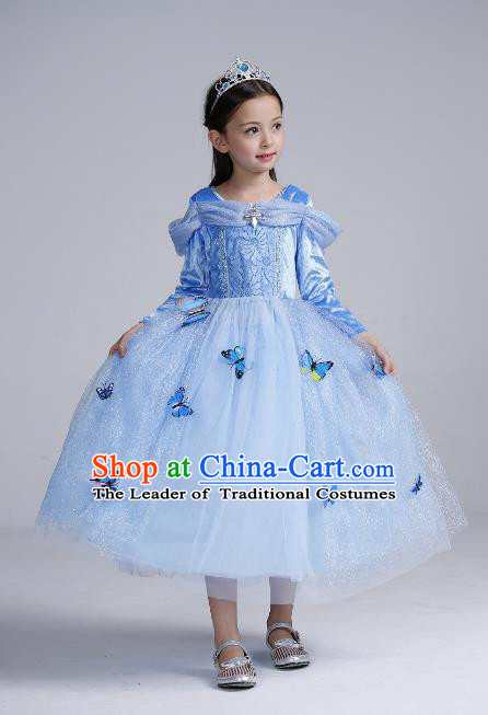 Top Grade Chinese Compere Professional Performance Catwalks Costume, Children Butterfly Veil Dress Uniform Modern Dance Clothing for Girls Kids