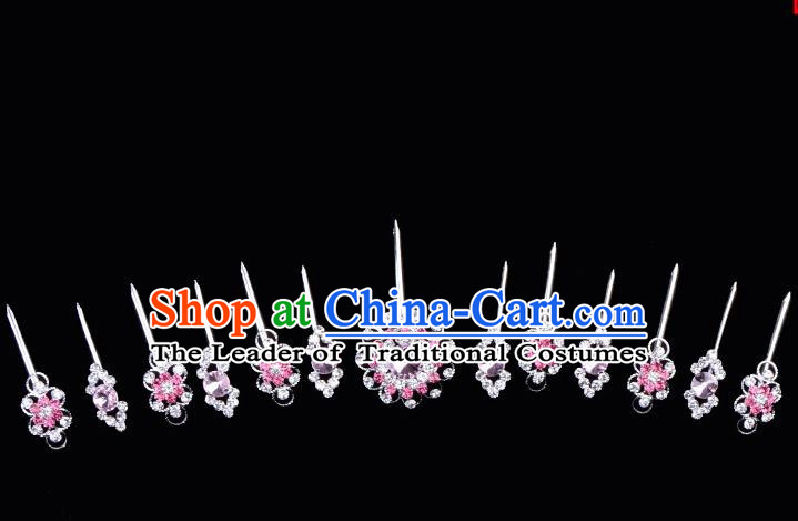 Top Grade Professional Beijing Opera Diva Red Crystal Hair Accessories Complete Set, Traditional Ancient Chinese Peking Opera Hua Tan Hairpins Headwear