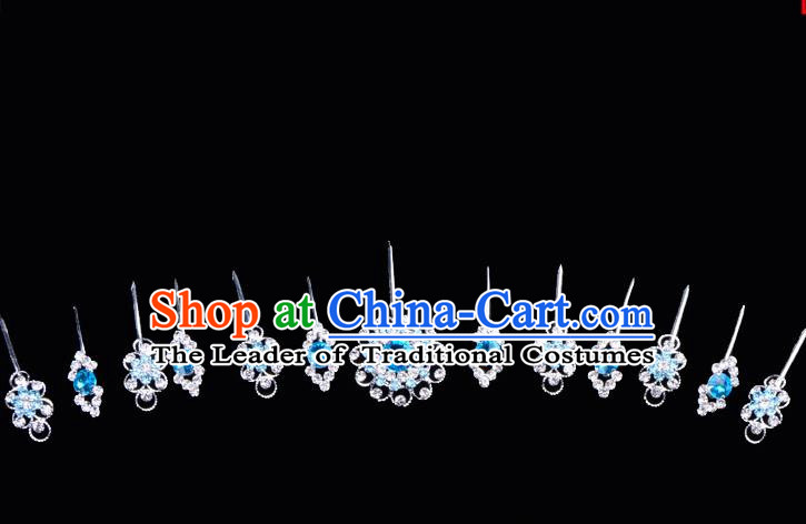 Top Grade Professional Beijing Opera Diva Blue Crystal Hair Accessories Complete Set, Traditional Ancient Chinese Peking Opera Hua Tan Hairpins Headwear