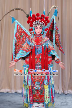 Traditional China Beijing Opera Female General Costume and Headwear Complete Set, Ancient Chinese Peking Opera Swordplay Military Officer Embroidery Red Clothing