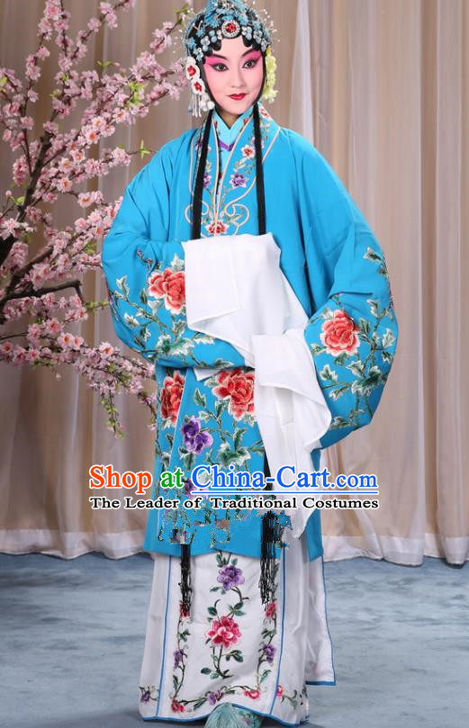 Top Grade Professional Beijing Opera Imperial Consort Costume Hua Tan Blue Embroidered Cape, Traditional Ancient Chinese Peking Opera Diva Embroidery Peony Clothing