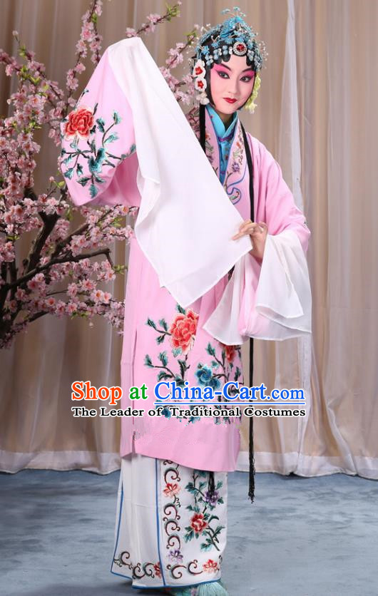 Top Grade Professional Beijing Opera Imperial Consort Costume Hua Tan Pink Embroidered Cape, Traditional Ancient Chinese Peking Opera Diva Embroidery Peony Clothing