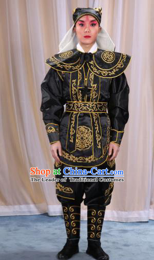 Traditional China Beijing Opera Takefu Costume, Ancient Chinese Peking Opera Wu-Sheng Warrior Embroidery Black Clothing