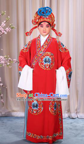China Beijing Opera Niche Costume General Red Embroidered Robe and Headwear, Traditional Ancient Chinese Peking Opera Embroidery Military Officer Gwanbok Clothing