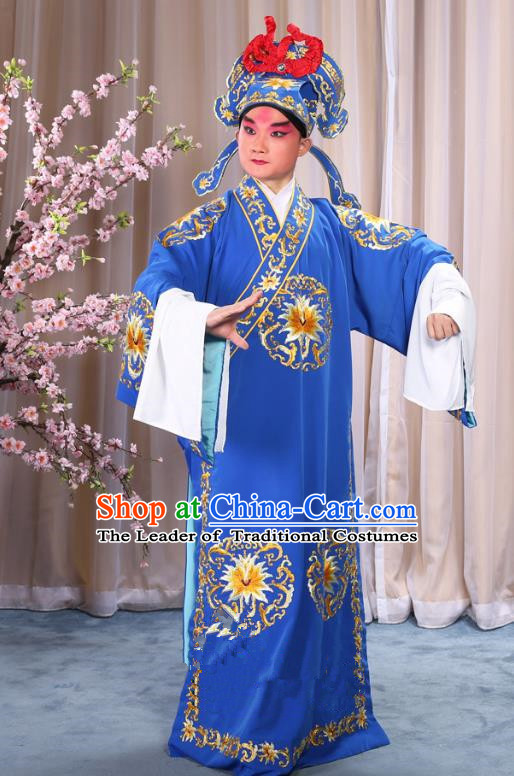 China Beijing Opera Niche Costume General Blue Embroidered Robe and Headwear, Traditional Ancient Chinese Peking Opera Embroidery Military Officer Gwanbok Clothing