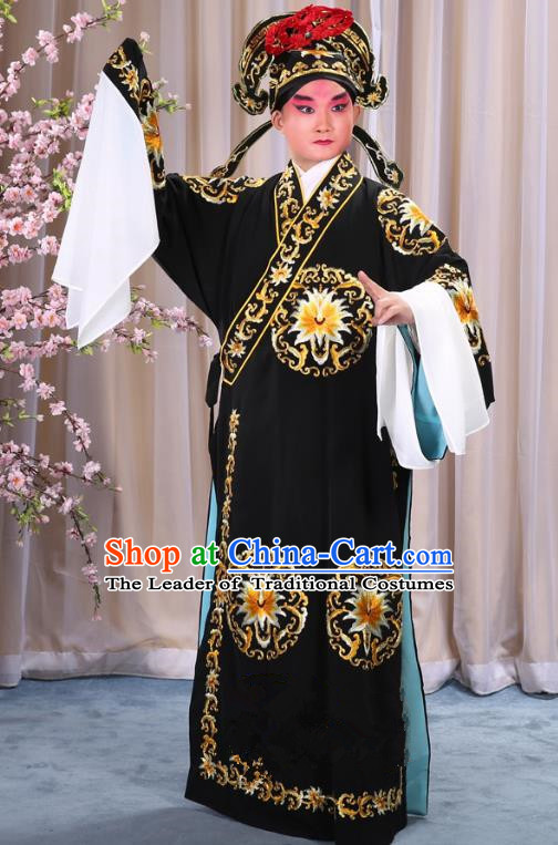China Beijing Opera Niche Costume General Black Embroidered Robe and Headwear, Traditional Ancient Chinese Peking Opera Embroidery Military Officer Gwanbok Clothing