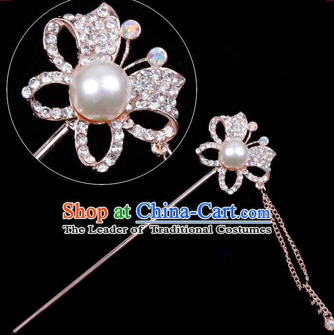 Traditional China Beijing Opera Hua Tan Hair Accessories Crystal Butterfly Hairpin, Ancient Chinese Peking Opera Tassel Step Shake Women Hairpins Diva Temple Kanzashi Headwear