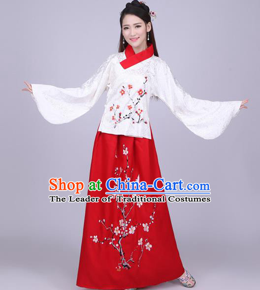 Traditional Ancient Chinese Ming Dynasty Imperial Princess Costume Blouse and Red Skirt, Elegant Hanfu Chinese Ancient Young Lady Sleeve Placket Embroidered Clothing for Women