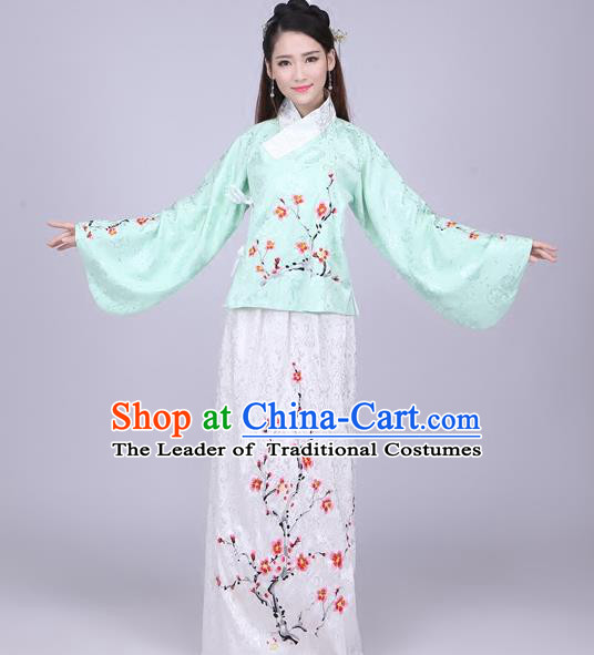 Traditional Ancient Chinese Ming Dynasty Imperial Princess Costume Green Blouse and White Skirt, Elegant Hanfu Chinese Ancient Young Lady Sleeve Placket Embroidered Clothing for Women