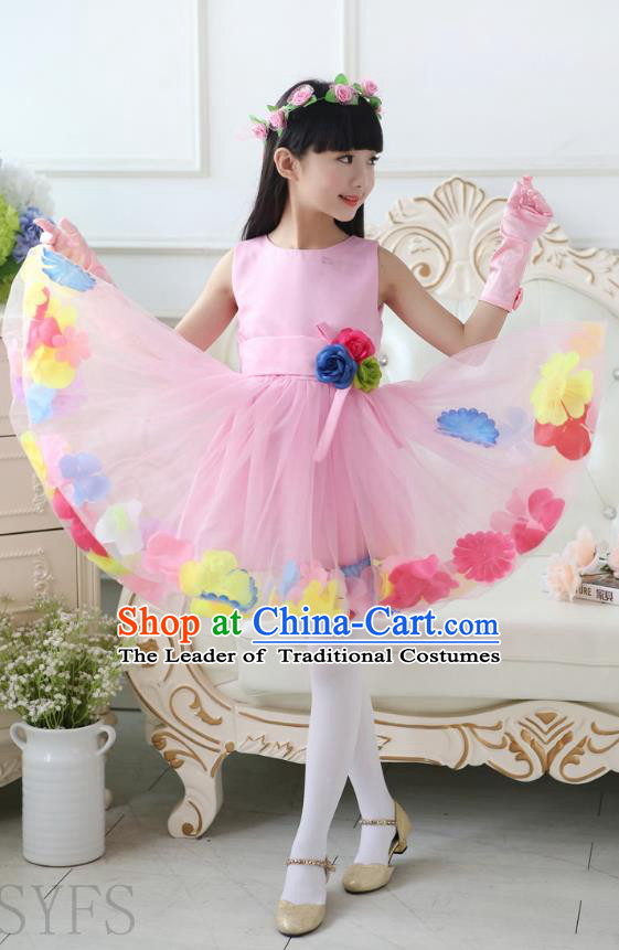 Top Grade Chinese Compere Professional Performance Catwalks Costume, Children Flowers Bubble Dress Modern Dance Pink Dress for Girls Kids