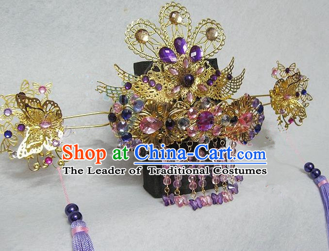 Traditional Handmade Chinese Ancient Classical Hair Accessories, Tassel Step Shake Hair Sticks Hair Jewellery, Hair Fascinators Hairpins for Women