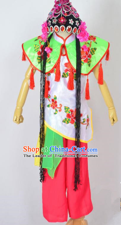Traditional Chinese Professional Peking Opera Young Lady Costume, China Beijing Opera Diva Hua Tan Maidservants Clothing