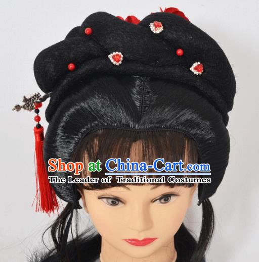 Traditional Handmade Chinese Classical Peking Opera Young Lady Wigs and Tassel Hairpin Hair Accessories, China Beijing Opera Princess Hairpieces Headgear