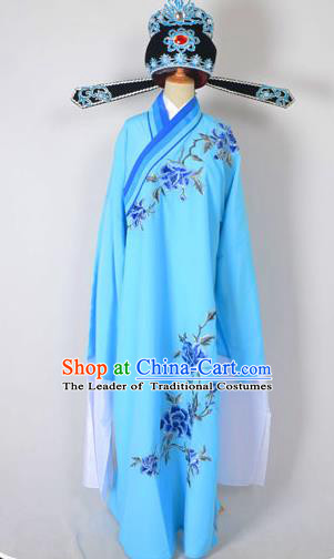 Traditional Chinese Professional Peking Opera Young Men Costume and Hat Complete Set, China Beijing Opera Shaoxing Opera Niche Lang Scholar Embroidery Peony Blue Long Robe Clothing