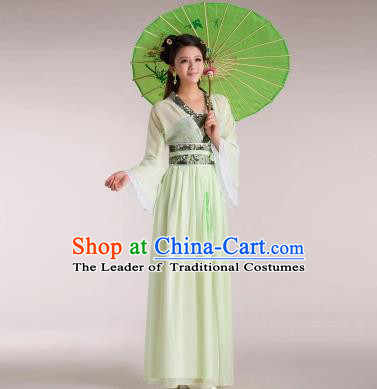Traditional Chinese Classical Ancient Fairy Costume, China Tang Dynasty Princess Hanfu Green Dress for Women