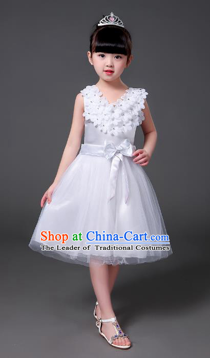 Top Grade Chinese Professional Performance Catwalks Costume, Children Modern Dance White Veil Bubble Princess Dress for Girls