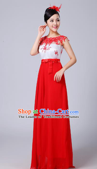 Top Grade Chinese Compere Professional Performance Catwalks Costume, China Chorus Modern Dance Red Dress for Women