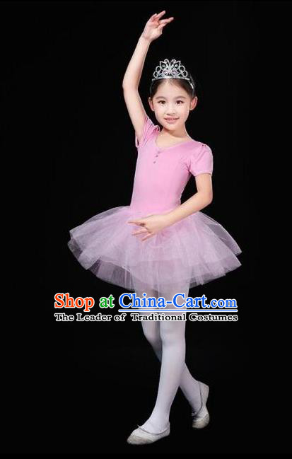 Top Grade Chinese Compere Professional Performance Catwalks Costume, China Ballet Dance Modern Swan Dance Pink Gym Dress for Women