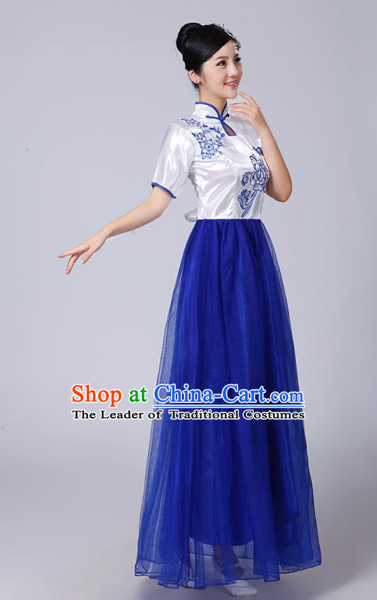 Traditional Chinese classical Yangge Fan Dancing Costume Modern dancing Dress Clothing and Headwear