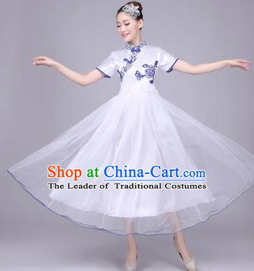 Traditional Chinese Classical Dance Cheongsam Costume, China Folk Dance White Veil Long Dress for Women