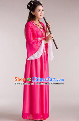 Traditional Chinese Classical Ancient Fairy Costume, China Tang Dynasty Princess Hanfu Rosy Dress for Women