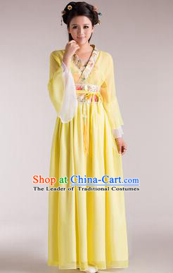 Traditional Chinese Classical Ancient Fairy Costume, China Tang Dynasty Princess Hanfu Yellow Dress for Women