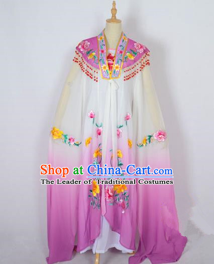 Traditional Chinese Professional Peking Opera Shaoxing Opera Costume Embroidery Purple Cloud Shoulder Mantel, China Beijing Opera Female Diva Clothing Long Water Sleeve Shawl Dress