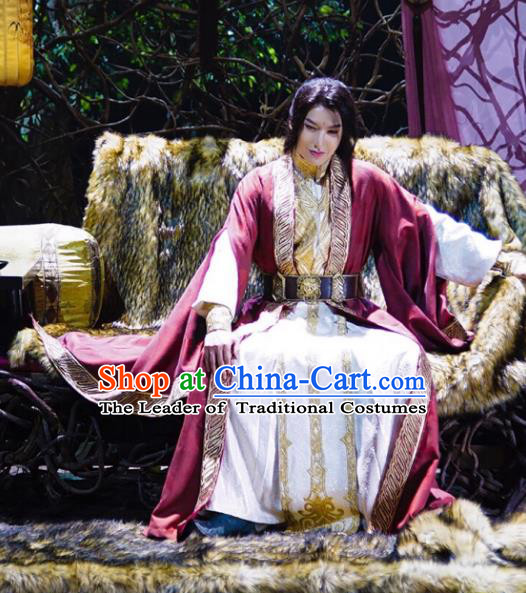Traditional Chinese Remote Ages Immortal Long Robe Costume and Headpiece Complete Set, China Ancient Elegant Hanfu Swordsman Clothing