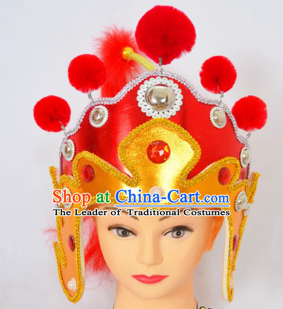 Traditional Handmade Chinese Classical Peking Opera Female General Hat, China Beijing Opera Warrior Headwear
