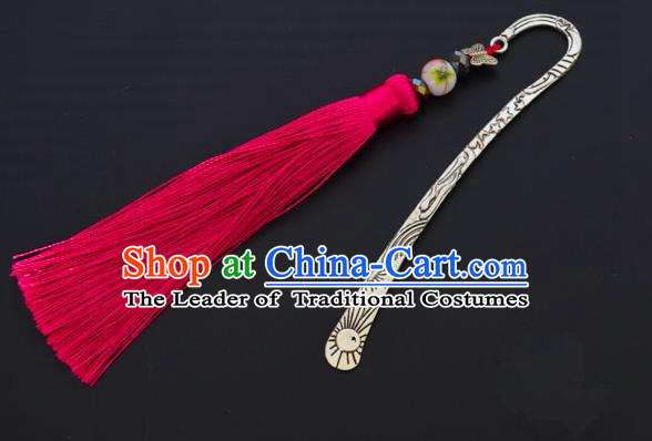 Traditional Handmade Chinese Classical Peking Opera Rosy Tassel Hair Accessories, China Beijing Opera Step Shake Hairpins