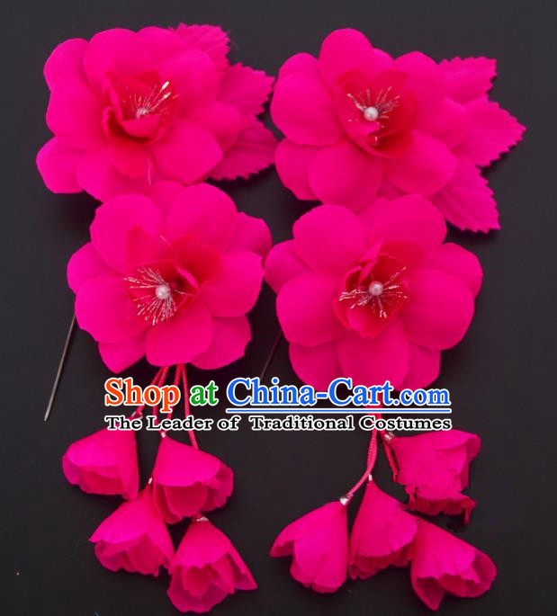 Traditional Handmade Chinese Classical Peking Opera Rosy Silk Flowers Hair Stick Hair Accessories, China Beijing Opera Diva Step Shake Tassel Hairpins