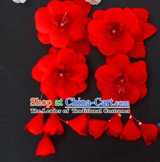 Traditional Handmade Chinese Classical Peking Opera Red Silk Flowers Hair Stick Hair Accessories, China Beijing Opera Diva Step Shake Tassel Hairpins