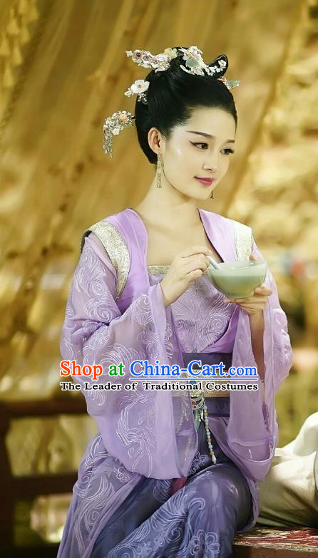 Traditional Chinese Northern and Southern Dynasties Princess Costume and Headpiece Complete Set, Princess Agents China Ancient Infanta Hanfu Dress Clothing for Women