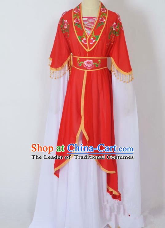 Traditional Chinese Professional Peking Opera Young Lady Costume Embroidery Red Dress, China Beijing Opera Diva Hua Tan Water Sleeve Clothing