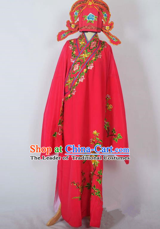 Traditional Chinese Professional Peking Opera Young Men Costume, China Beijing Opera Niche Gifted Scholar Embroidery Rosy Robe Clothing