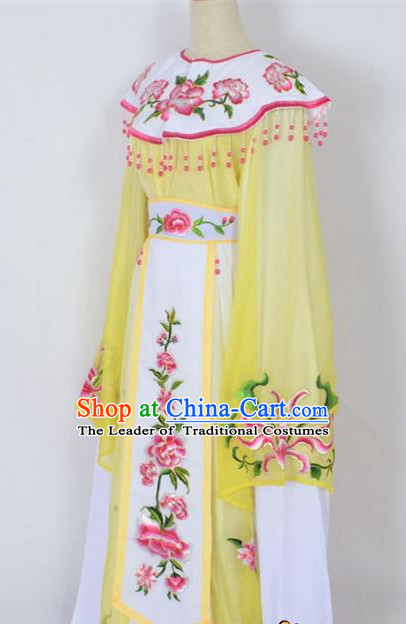 Traditional Chinese Professional Peking Opera Young Lady Princess Costume Yellow Embroidery Peony Dress, China Beijing Opera Diva Hua Tan Embroidered Cloud Shoulder Clothing