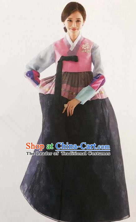 Traditional Korean Handmade Embroidery Bride Hanbok Black Dress, Top Grade Korea Hanbok Wedding Costume for Women