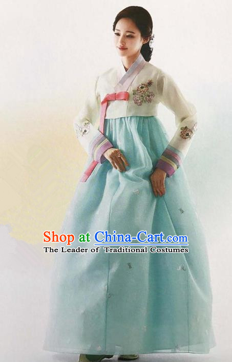 Traditional Korean Handmade Embroidery Bride Hanbok Blue Full Dress, Top Grade Korea Hanbok Wedding Costume Complete Set for Women