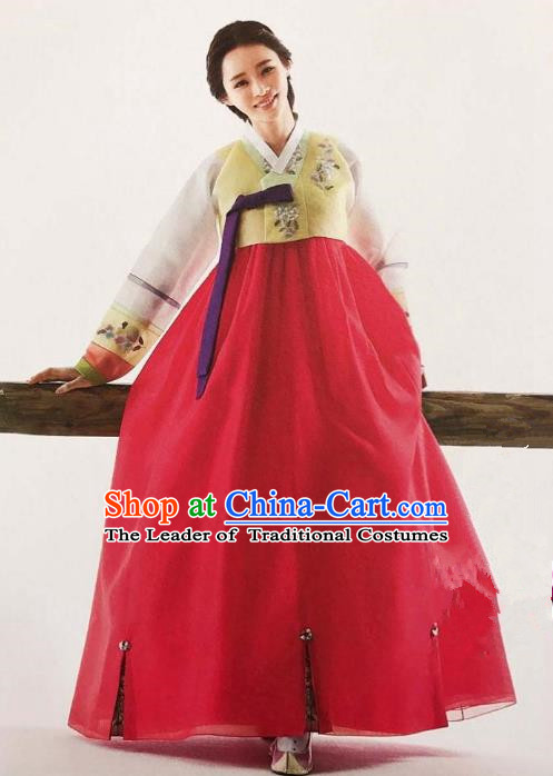 Traditional Korean Handmade Embroidery Bride Hanbok Red Full Dress, Top Grade Korea Hanbok Wedding Costume Complete Set for Women