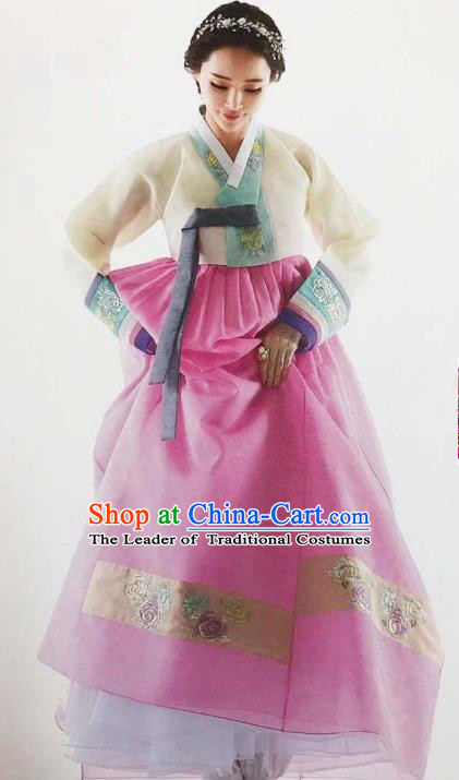 Traditional South Korean Handmade Embroidery Bride Hanbok Pink Full Dress, Top Grade Korea Hanbok Wedding Costume Complete Set for Women