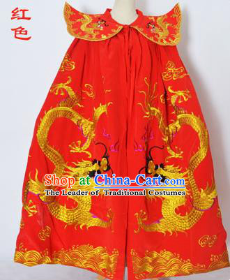 Traditional Chinese Professional Peking Opera General Costume Red Cloak, China Beijing Opera Swordplay Embroidered Dragons Cape